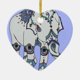 Serenity Boho Elephant Ceramic Heart Decoration