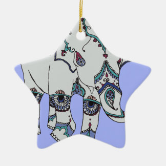 Serenity Boho Elephant Ceramic Star Decoration