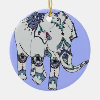 Serenity Boho Elephant Round Ceramic Decoration