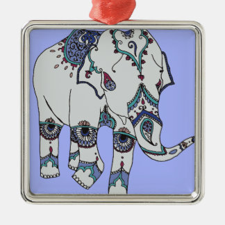 Serenity Boho Elephant Silver-Colored Square Decoration