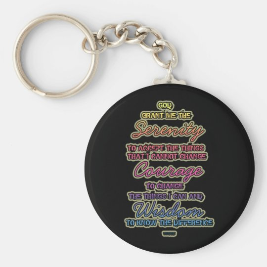 Serenity Courage Wisdom Colourful Text on Black Key Ring
