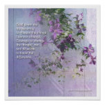 Serenity Fence Flowers Poster