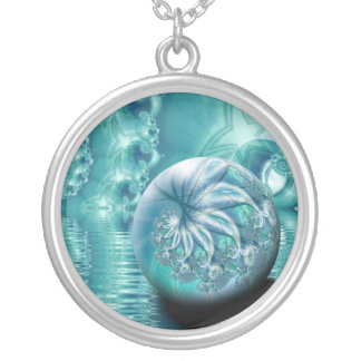 """""""Serenity II"""" custom fractal art Silver Plated Necklace"""