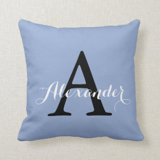 Serenity Light Blue Baby Boy Solid Color Monogram Throw Pillow