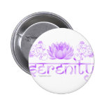 Serenity lotus in purple pinback buttons
