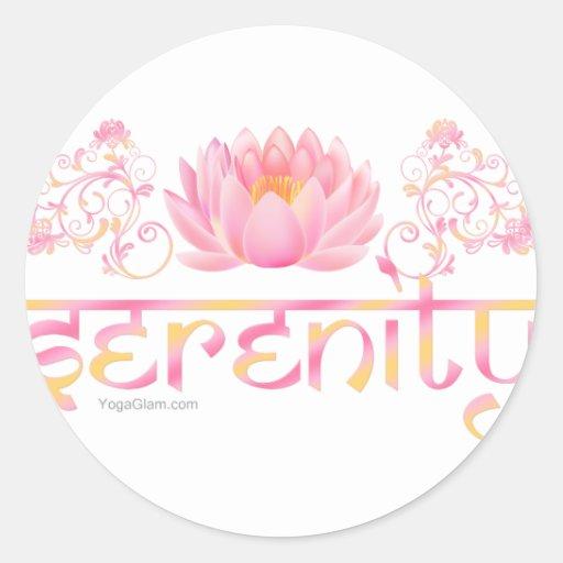 Serenity lotus round stickers