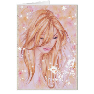 """""""Serenity"""" ~ Note Card Female & butterfly motif"""