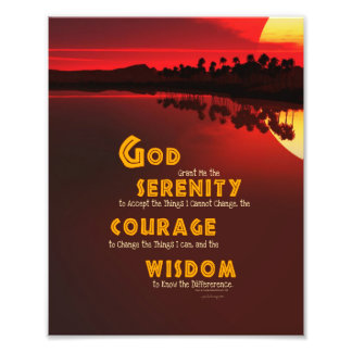 Serenity Prayer: African Red Sun Strength/Recovery Art Photo