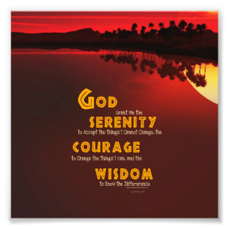 Serenity Prayer: African Red Sun Strength/Recovery Photograph