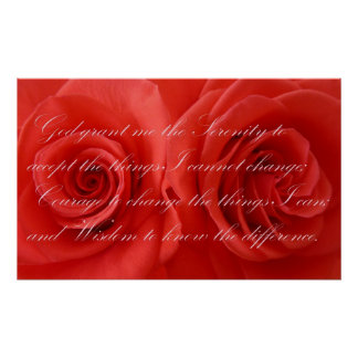 Serenity Prayer and Roses Poster