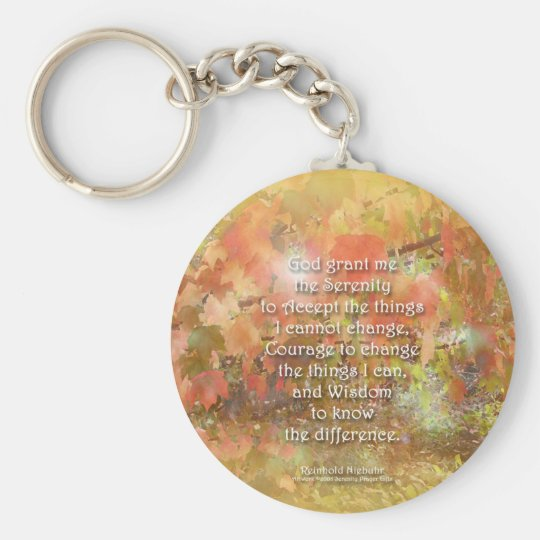 Serenity Prayer Autumn Leaves Basic Round Button Key Ring
