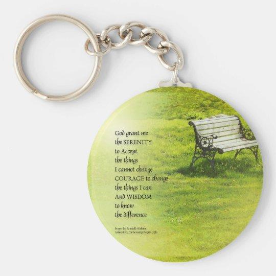 Serenity Prayer Bench Basic Round Button Key Ring