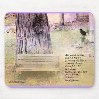 Serenity Prayer Bench Tree Cat Mouse Pad