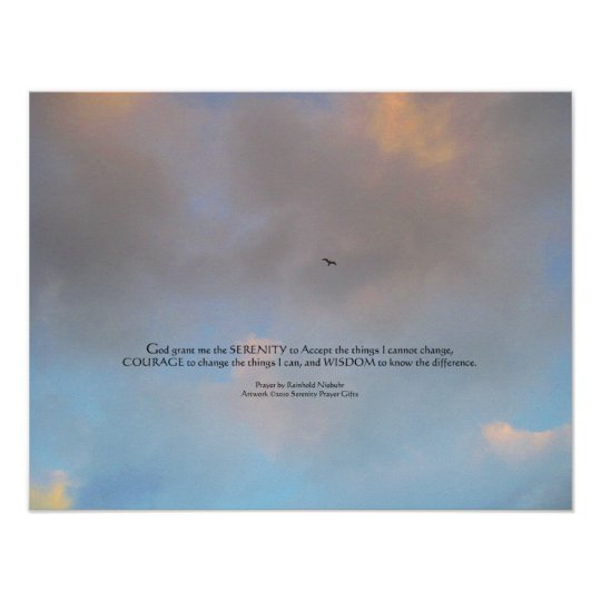 Serenity Prayer Bird and Sky Print