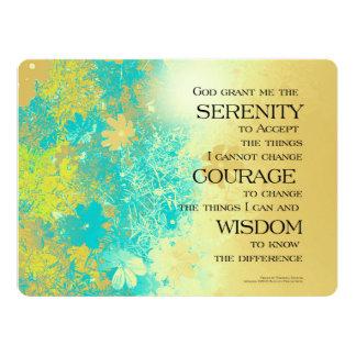 Serenity Prayer Blue Gold Flowers 17 Cm X 22 Cm Invitation Card
