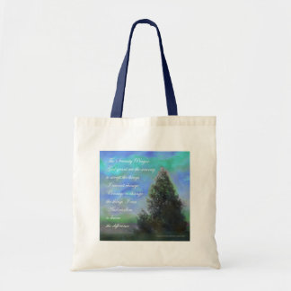 Serenity Prayer Blue Green Tote Bags