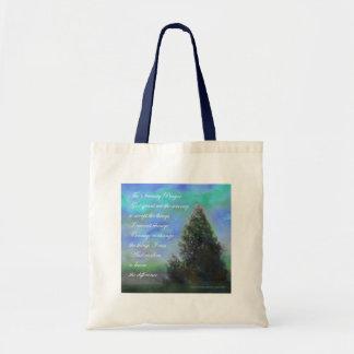Serenity Prayer Blue Green Budget Tote Bag