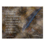 Serenity Prayer Blue Jay Feather Poster