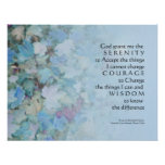 Serenity Prayer Blue Leaves Print