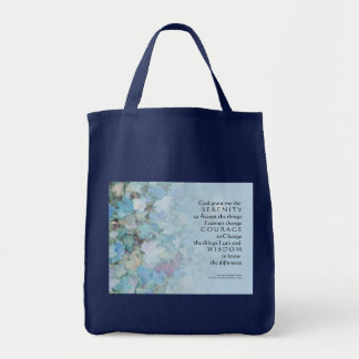Serenity Prayer Blue Leaves Grocery Tote Bag