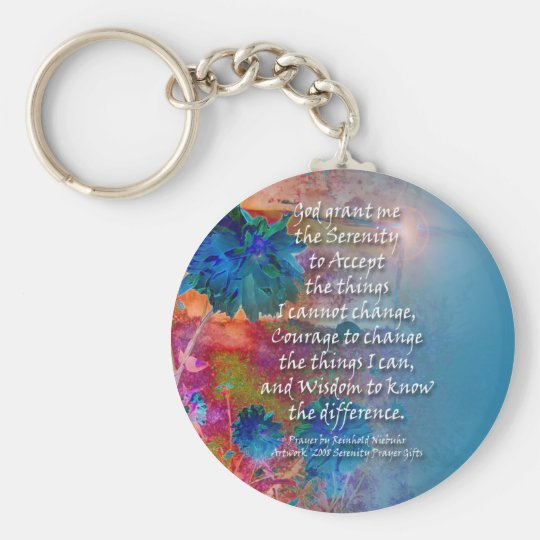 Serenity Prayer Blue Orange Flowers Basic Round Button Key Ring