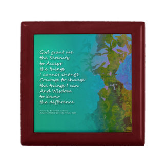 Serenity Prayer Blue Roses 2 Small Square Gift Box