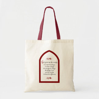 Serenity Prayer-Burgundy Frame/Vintage Budget Tote Bag
