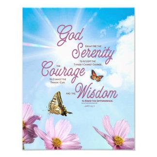Serenity Prayer: Butterflies, Pink Flowers, Streng Art Photo