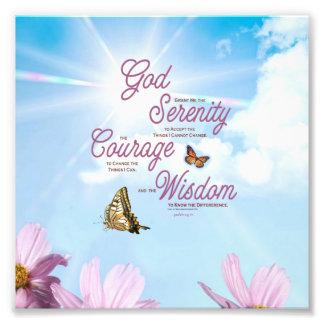 Serenity Prayer: Butterflies, Pink Flowers, Streng Photo Art