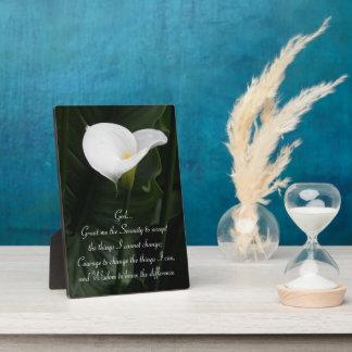 Serenity Prayer Calla Lily Photo Plaque
