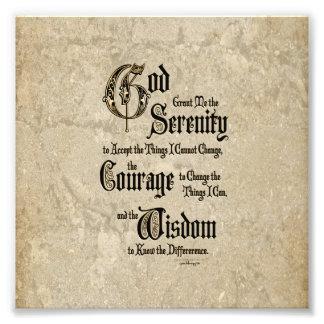 Serenity Prayer: Calligraphy, Antique, Recovery Art Photo