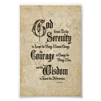 Serenity Prayer: Calligraphy, Antique, Recovery Photo Art