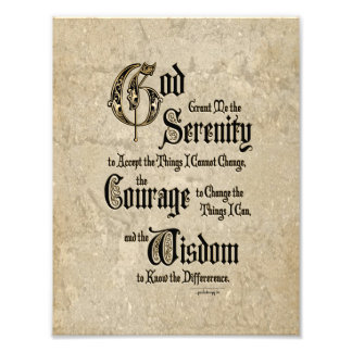 Serenity Prayer: Calligraphy, Antique, Recovery Photo Print