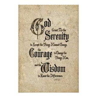 Serenity Prayer: Calligraphy, Antique, Recovery Photo Print