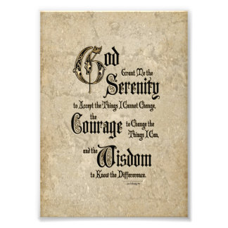 Serenity Prayer: Calligraphy, Antique, Recovery Photograph