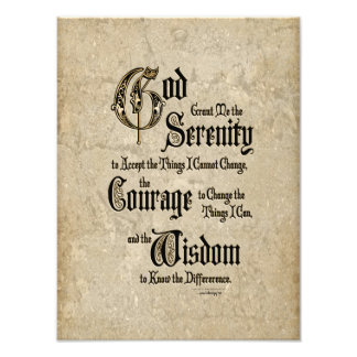 Serenity Prayer: Calligraphy, Antique, Recovery Photographic Print