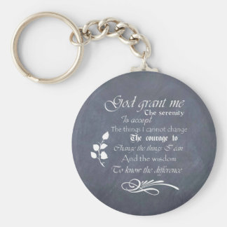 Serenity Prayer Chalkboard Gifts - trendy vintage Basic Round Button Key Ring
