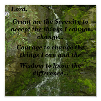 Serenity Prayer (cliff waterfall) Poster