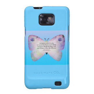 Serenity Prayer Colorful Butterfly on Blue Galaxy S2 Case