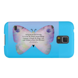Serenity Prayer Colorful Butterfly on Blue Galaxy S5 Case