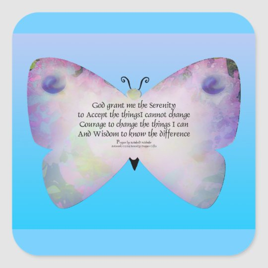 Serenity Prayer Colourful Butterfly on Blue Square Sticker