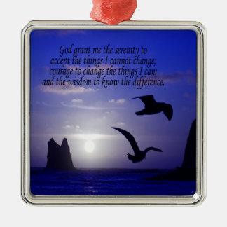 serenity prayer double bird blues square ornament