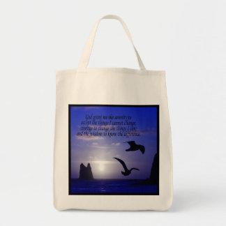 serenity prayer double bird blues tote bag