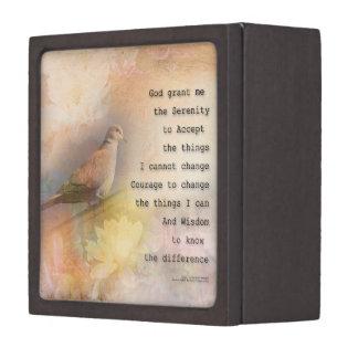Serenity Prayer Dove and Flowers Premium Trinket Box