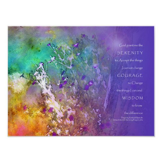 Serenity Prayer Flowers and Tree Poster