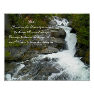 Serenity Prayer Forest Waterfall Poster