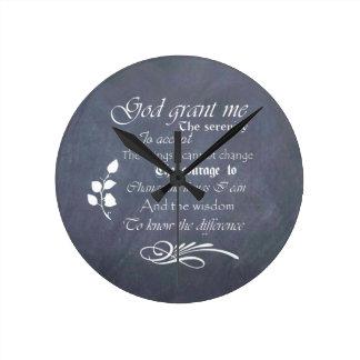 Serenity prayer gift chalkboard retro round clock