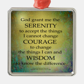 Serenity Prayer Gold on Blue-Green Christmas Ornament