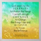 Serenity Prayer Green & Gold Landscape Print