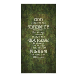 Serenity Prayer: Grunge, Camouflage, Recovery Customised Photo Card
